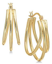 Essential Gold Plated Triple Oval Hoop Earrings
