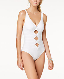 Carmen Marc Valvo Twist-Front Cutout Underwire One-Piece Swimsuit
