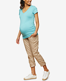 Motherhood Maternity Twill Staight-Leg Cuffed Pants