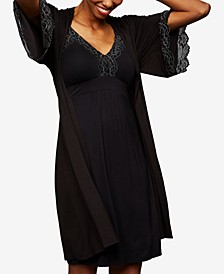 Maternity Lace-Trim Belted Robe