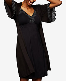A Pea In The Pod Maternity Lace-Trim Belted Robe