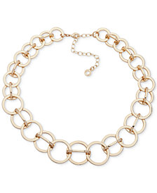 """Anne Klein Gold-Tone Interlocking Circles Collar Necklace, 13"""" + 3"""" extender"""