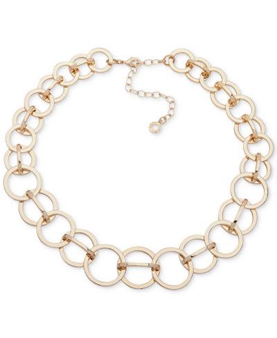 Anne Klein Gold-Tone Interlocking Circles Collar Necklace, 13