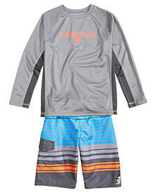 Laguna Rash Guard & Striped Swim Trunks, Big Boys