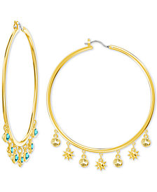 Swarovski Gold-Tone Crystal Charm Hoop Earrings