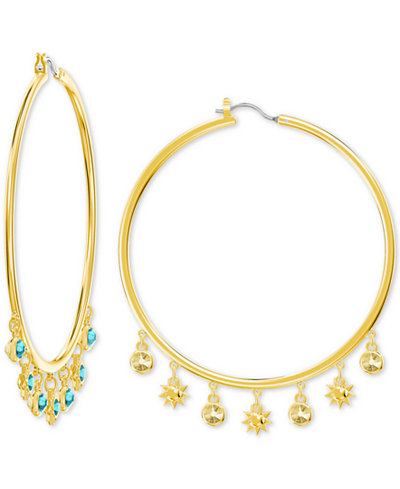 Swarovski Gold-Tone Crystal Charm Hoop Earrings
