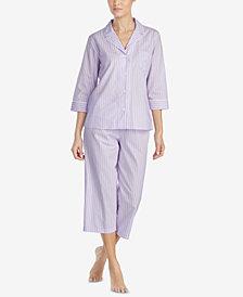 Lauren Ralph Lauren Classic Woven Cotton Capri Pajama Set