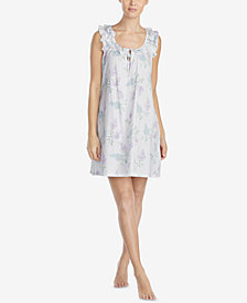 Lauren Ralph Lauren Petite Classic Knits Cotton Ruffle-Trim Nightgown
