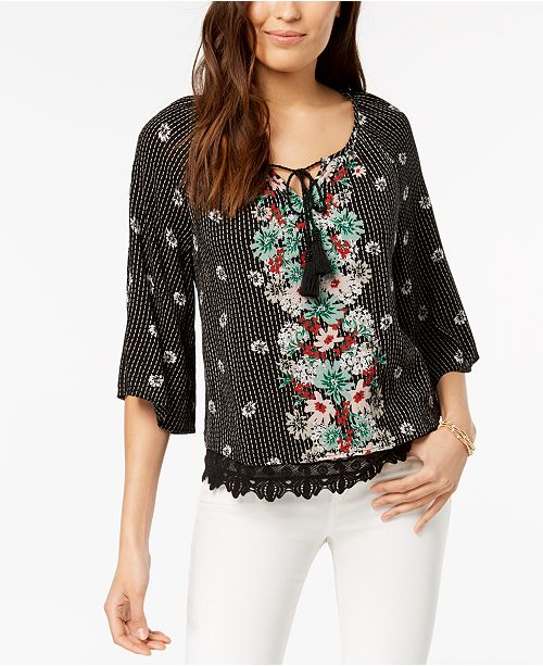 Style & Co Petite Printed Lace-Hem Peasant Top, Created for Macy's