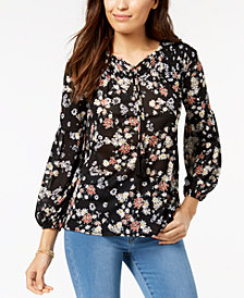 Style & Co Petite Printed Mesh Peasant Top, Created for Macy's