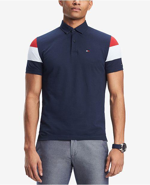 6667b6f4 ... Tommy Hilfiger Men's Clark Custom-Fit Stripe-Sleeve Polo, Created for  Macy's ...