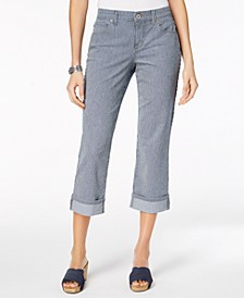 Petite Curvy-Fit Striped Capri Jeans, Created for Macy's