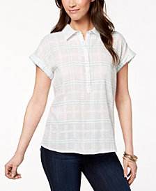 Style & Co Petite Cotton Textured Plaid Shirt, Created for Macy's