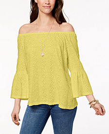 Style & Co Petite Off-The-Shoulder Cotton Eyelet Top, Created for Macy's