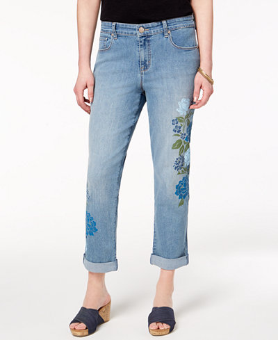 Style & Co Petite Printed Curvy-Fit Boyfriend Jeans, Created for Macy's