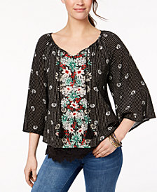 Style & Co Lace-Hem Peasant Top, Created for Macy's