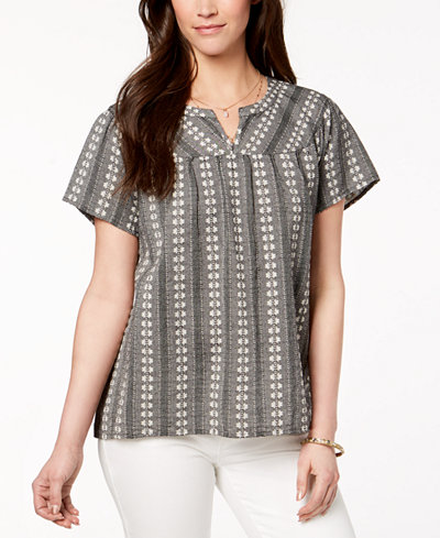 Style & Co Textured Cotton Split-Neck Top, Created for Macy's