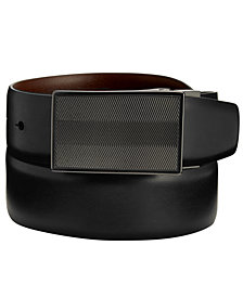 Perry Ellis Portfolio Men's Reversible Dizzy Plaque Belt