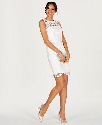 Adrianna Papell Illusion Lace Sheath Dress Dresses Women Macy S