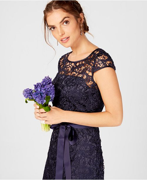 Sleeve Cap Illusion Midnight Lace Gown Papell Adrianna H0Oqvn1E