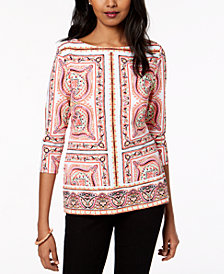 Charter Club Petite Boat-Neck Tile-Print Top, Created for Macy's