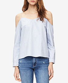 Calvin Klein Jeans Cotton Cold-Shoulder Striped Top