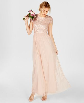 Adrianna Papell Sequined Tulle A Line Gown Dresses Women Macy S