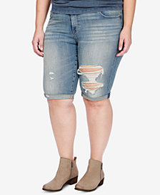 Lucky Brand Trendy Plus Size Ripped Denim Bermuda Shorts