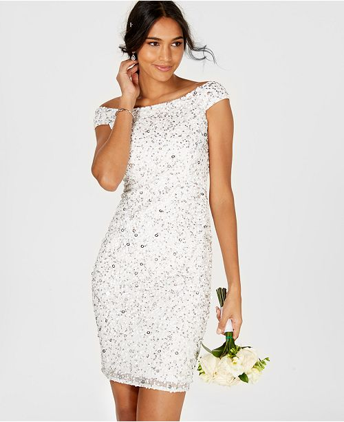 The Papell Beaded Shoulder Adrianna Off Dress Sheath White qRdnE