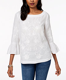 Charter Club Embroidered Linen Top, Created for Macy's