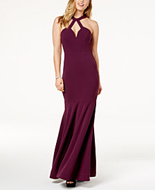 City Studios Juniors' Open-Back Halter Gown
