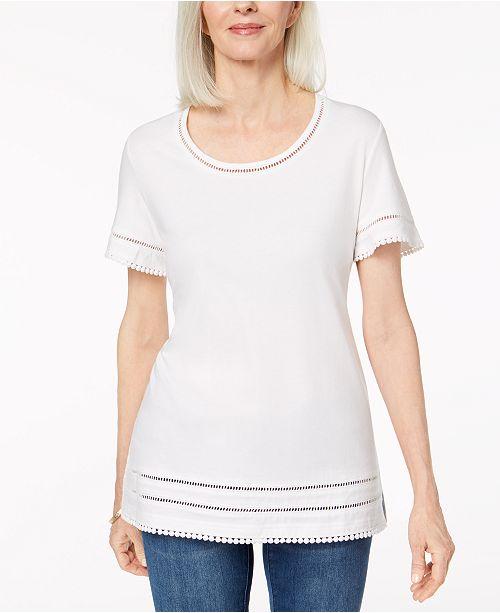 b9a435f97c4 Karen Scott. Ladder-Inset T-Shirt
