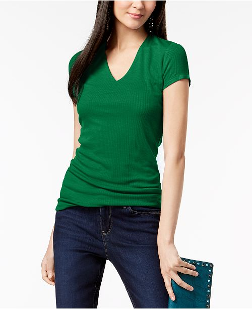 INC International Concepts INC Short Sleeve Ribbed V-Neck Top, Created for Macy's