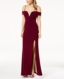 City Studios Juniors' Off-The-Shoulder Gown