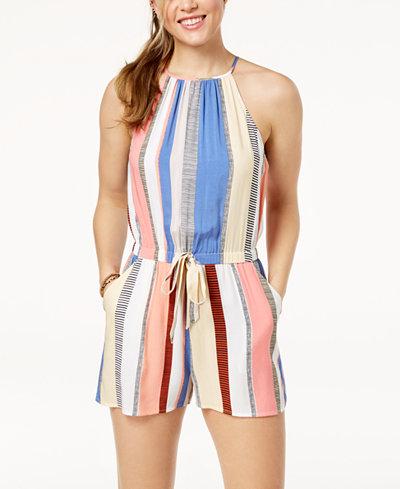 Be Bop Juniors' Striped Tie-Front Romper