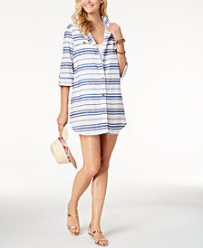 Dotti Havana Cotton Striped Shirtdress Cover-Up