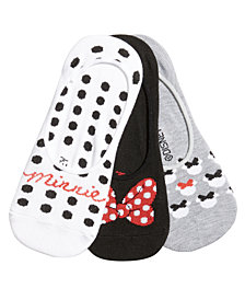 Disney Women's 3-Pk. Minnie Mouse Polka-Dot Liner Socks