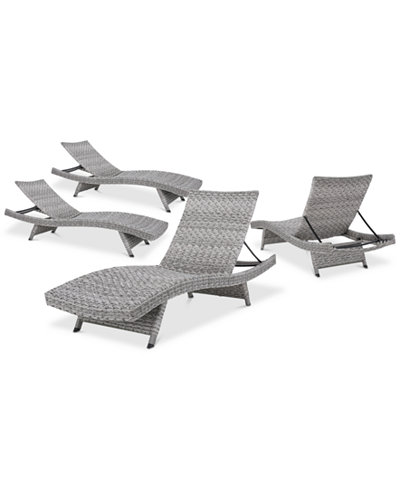 Trevor Outdoor Chaise Lounge Set Of 4 Quick Ship