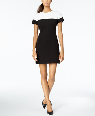 Adrianna Papell Two-Tone Colorblocked Sheath Dress