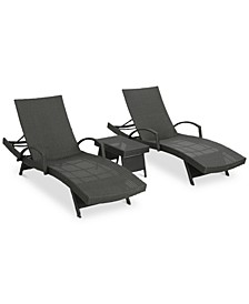 Brandon Outdoor Chaise Lounge & Side Table 3-Pc. Set, Quick Ship