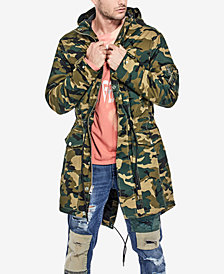 GUESS Men's Camo-Print Eagle Fishtail Parka