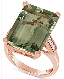 Green Quartz (15 ct. t.w.) & Diamond (1/5 ct. t.w.) in 14k Rose Gold