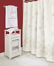 "Lenox French Perle Snowflake 72"" Shower Curtain"