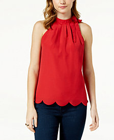 Maison Jules Scalloped Faux-Tie Top, Created for Macy's