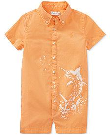Polo Ralph Lauren Twill Graphic Cotton Romper, Baby Boys