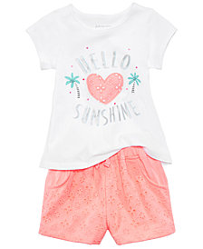 First Impressions Graphic-Print T-Shirt & Shorts Separates, Baby Girls, Created for Macy's