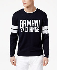 A|X Armani Exchange Men's Striped-Sleeve Logo Sweater