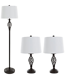 Lavish Home Set of 3 Cage Lamp Set