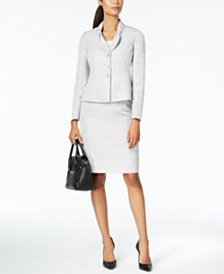 Le Suit Bow-Collar Skirt Suit