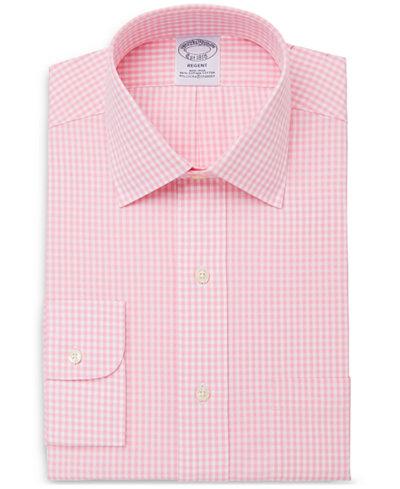 Brooks Brothers Men's Classic/Regular Fit Non-Iron Stretch Gingham Dress Shirt